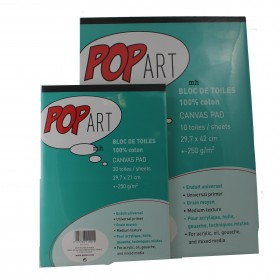Pebeo Pop Art, Artist's Canvas Pad: 100% Cotton Canvas - A3 or A4