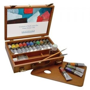 Sennelier artists quality 40ml oil paint set wooden storage case