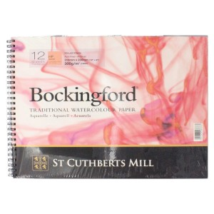 "Bockingford Watercolour Pad Spiral Bound Paper 12 Sheets 12"" x 9"" Hot Pressed"