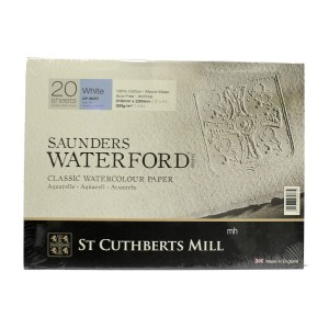 """Saunders Waterford 12"""" x 9"""" 100% cotton watercolour block 300 GSM paper"""