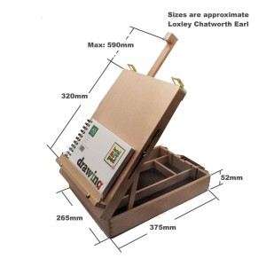 adjustable wooden easel with lined storage