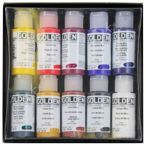 Golden 10 Professional Fluid Acrylics 30ml Bottles open box