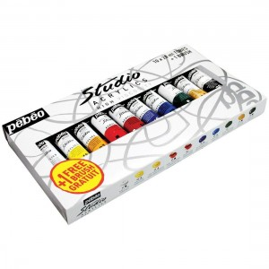 Pebeo Studio Acrylic High Viscosity 10x 20ml Paints & Brush