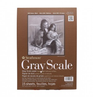 "Strathmore 400 tone GREY scale 9"" x 12"" 80lbs (216gsm )15 sheets"