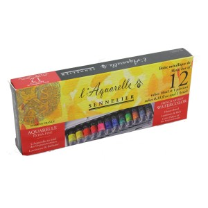 Sennelier L'Aquarelle watercolour paint metal tin set 12 x 10ml tubes