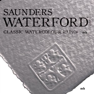"Saunders Waterford 22"" x 15"", 2 sheets 100% cotton white CP 300gsm (140lb) watercolour paper"