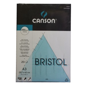 Canson Bristol extra smooth surface paper pad, 250gsm, A3 or A4, 20 sheets