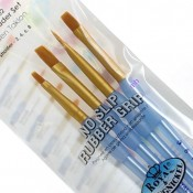 Royal Brush Crafter's Choice 4 Golden Taklon Shader Set Brushes Soft Grip Handles