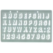 Shadow Style Stencil with Alphabet, Numbers, Capital Letters, A-Z, 0-9