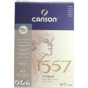 Canson 1557 Spiral Bound Pad - A3 Size 120gsm 50 sheets extra white light grain