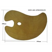 Large artists painting wooden kidney shaped palette 59x37cm