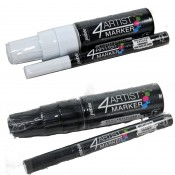 Pebeo 4 Artist Marker duo White or Black Set 2mm and 8mm