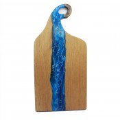 Oak wood and resin serving board with curved  loop handcrafted blue