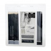 Royal & Langnickel Essentials Sketching Artist Set 21pc Pencils Charcoal Eraser