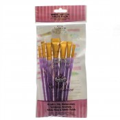 RCC-308 Royal Brush Craft/Art White Taklon value pack 7pc Angular Set