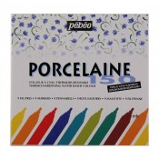 New Pebeo 9 Assorted Markers Case Bullet Point Porcelaine 150
