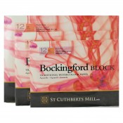 "Bockingford Hot Press Block Pads, 12 sheets 300gsm, HP paper, 12""x 9"", 14""x10"", 16""x12"""