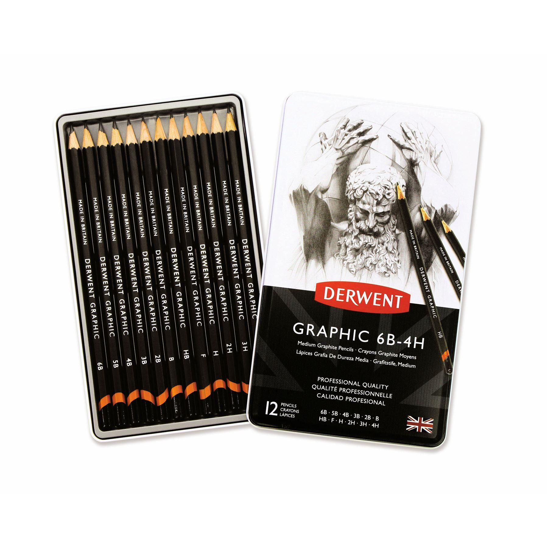 Derwent Artists Graphic graded pencil, 12 or 24 Tin sets