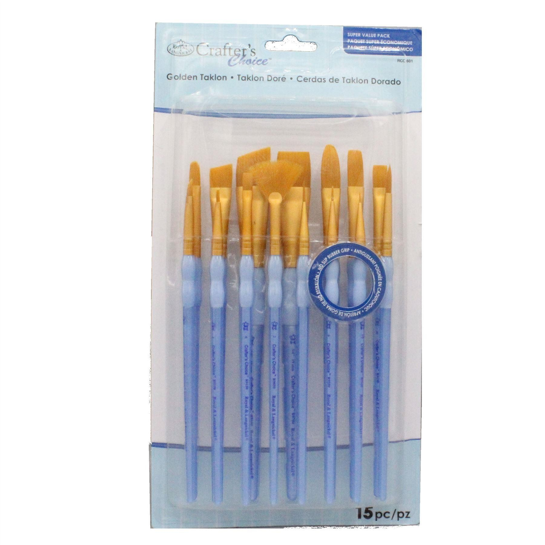 Royal & Langnickel Artists' Super Value Pack, 15 Soft Grip Brushes - RCC-600 Series