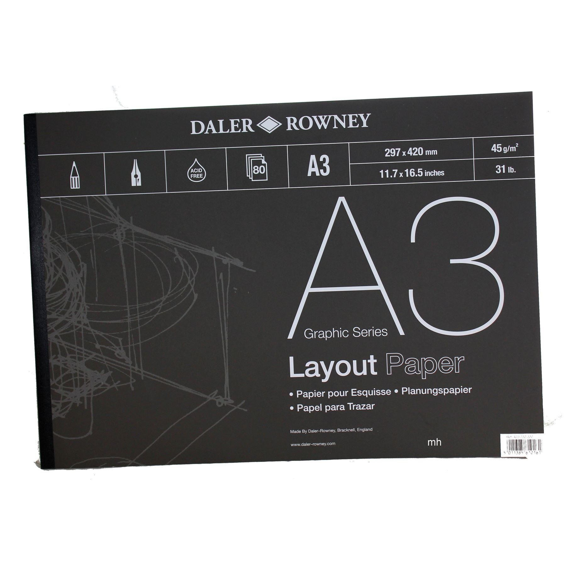 Daler Rowney Layout Paper Pad A4 or A3 45sgm