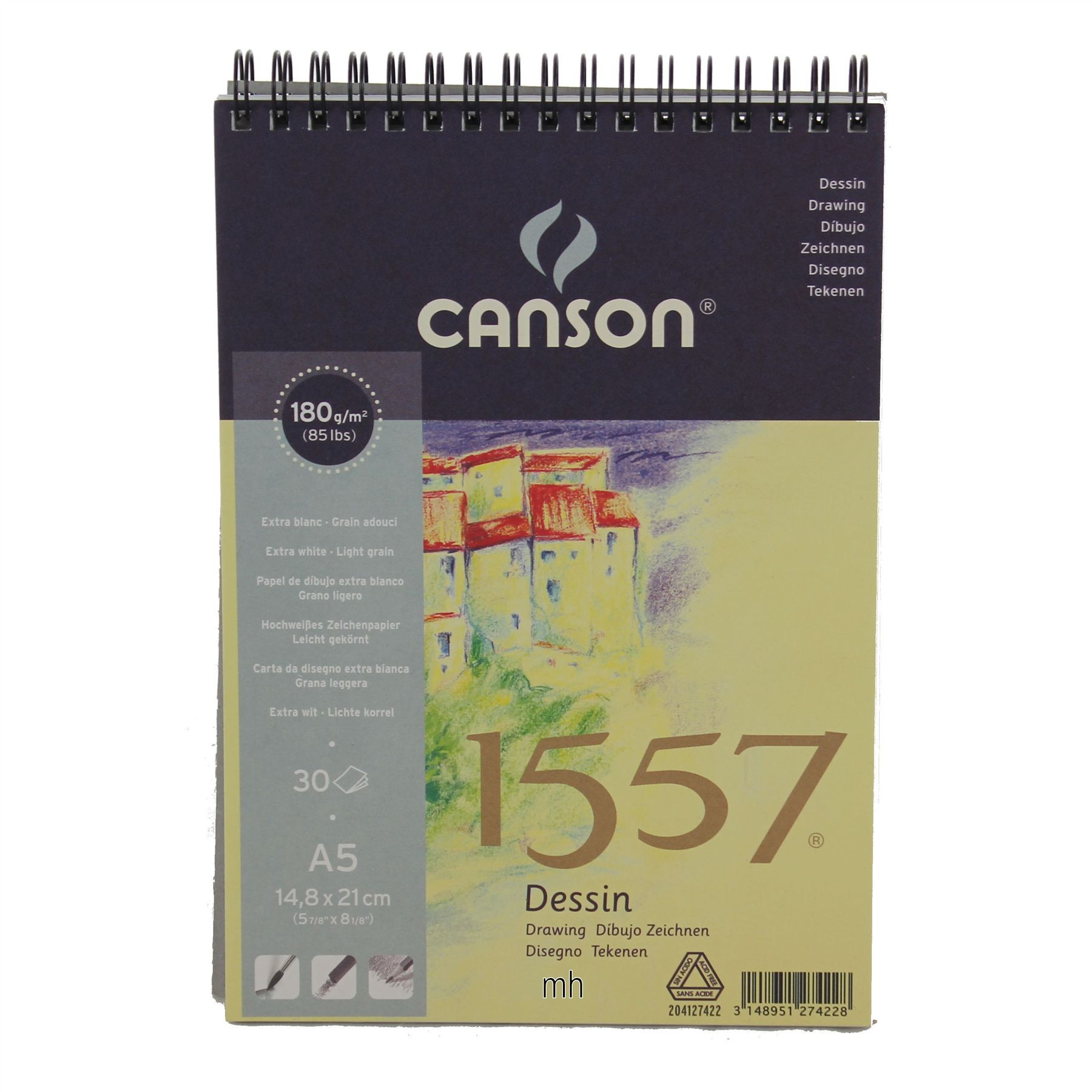 Canson 1557 Spiral Pad Drawing sketching paper 180gsm