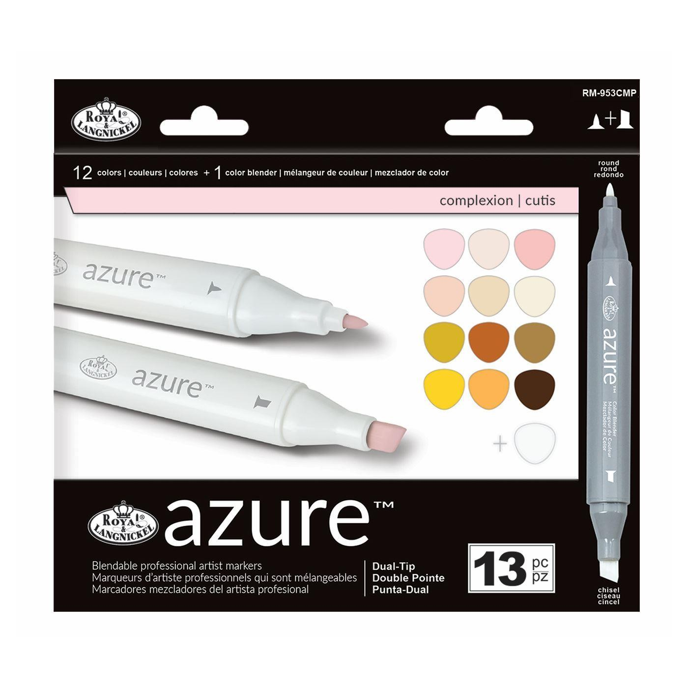 Royal & Langnickel 13-Piece Colour Marker Set - Azure Double-ended Artists' Markers With Blender