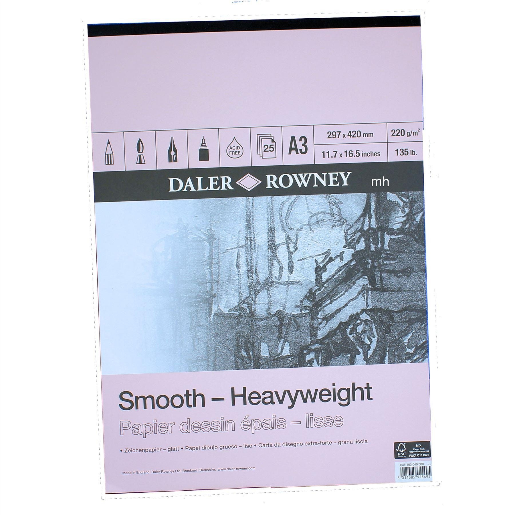 Daler Rowney Heavy Weight Cartridge Paper Pad  220gsm 25 sheets assorted sizes
