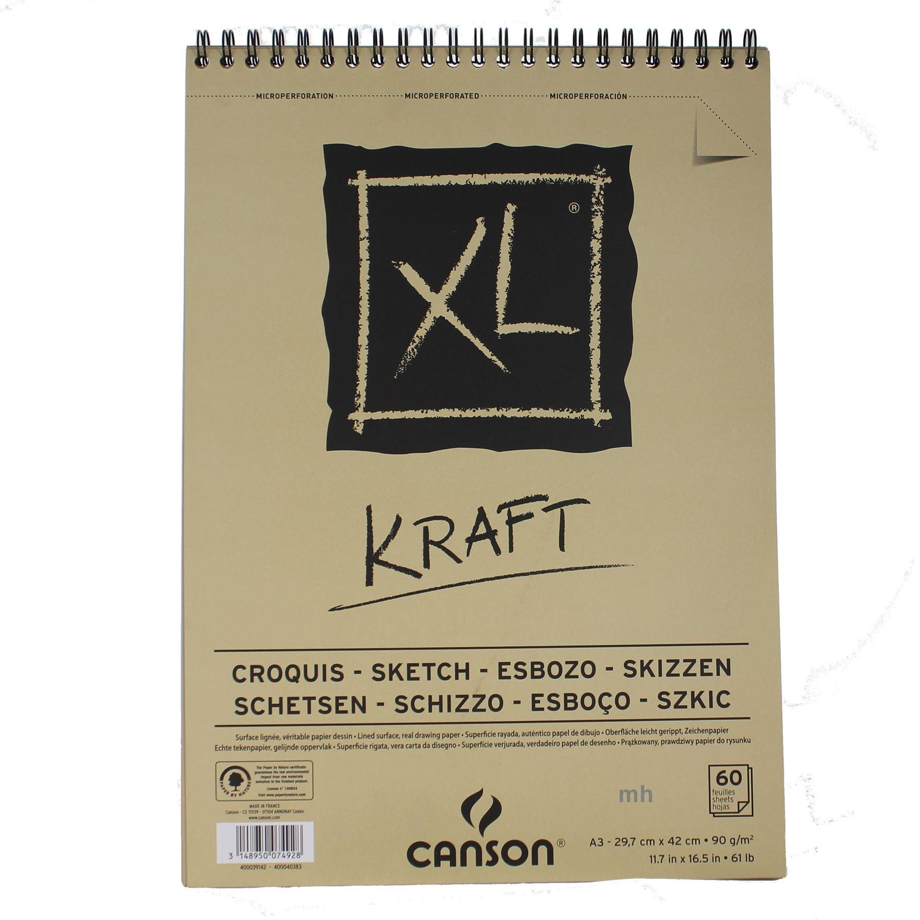 Canson XL Kraft pad, brown paper , A3, A4 60 sheets 90gsm