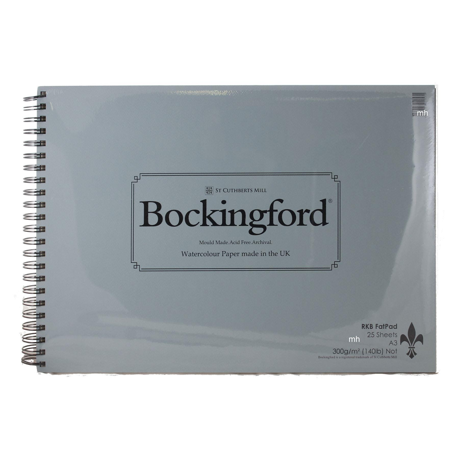 RKB Fat Pad Bockingford watercolour paper pads, Cold Press, 25 sheets, Spiral Bound