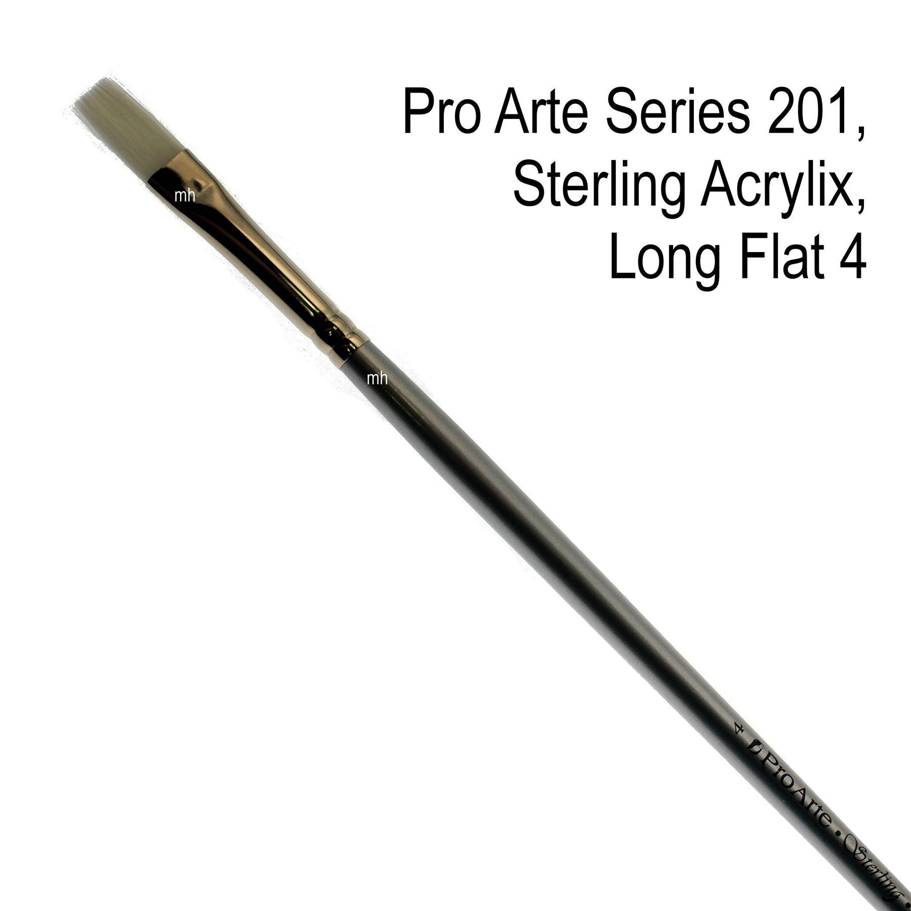 Pro Arte Series 201, Sterling Acrylix Brushes, Long Flat Brush - Assorted Sizes