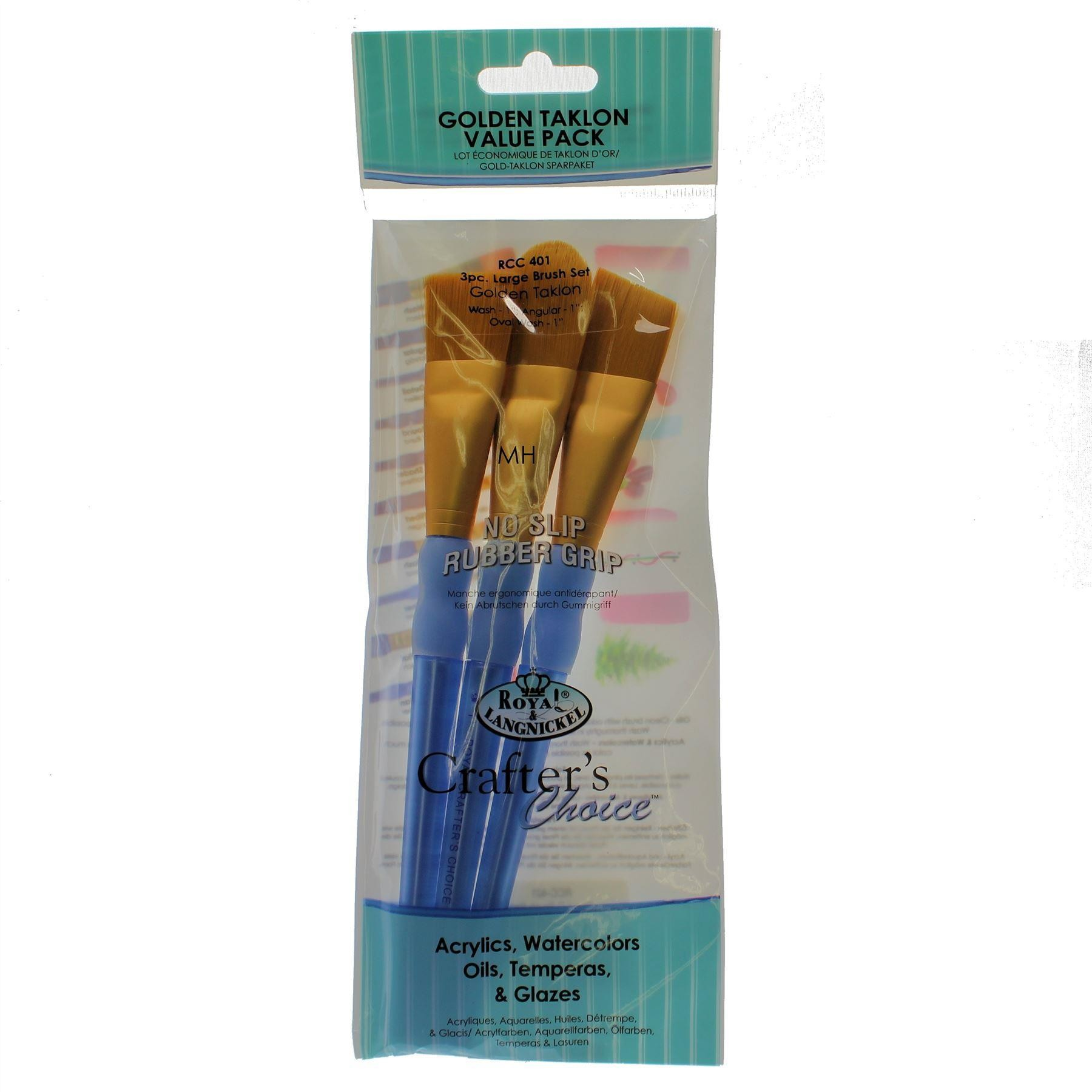 Royal & Langnickel Crafters' Choice, Artists Golden Taklon Paint Brush Set - RCC-400 Series