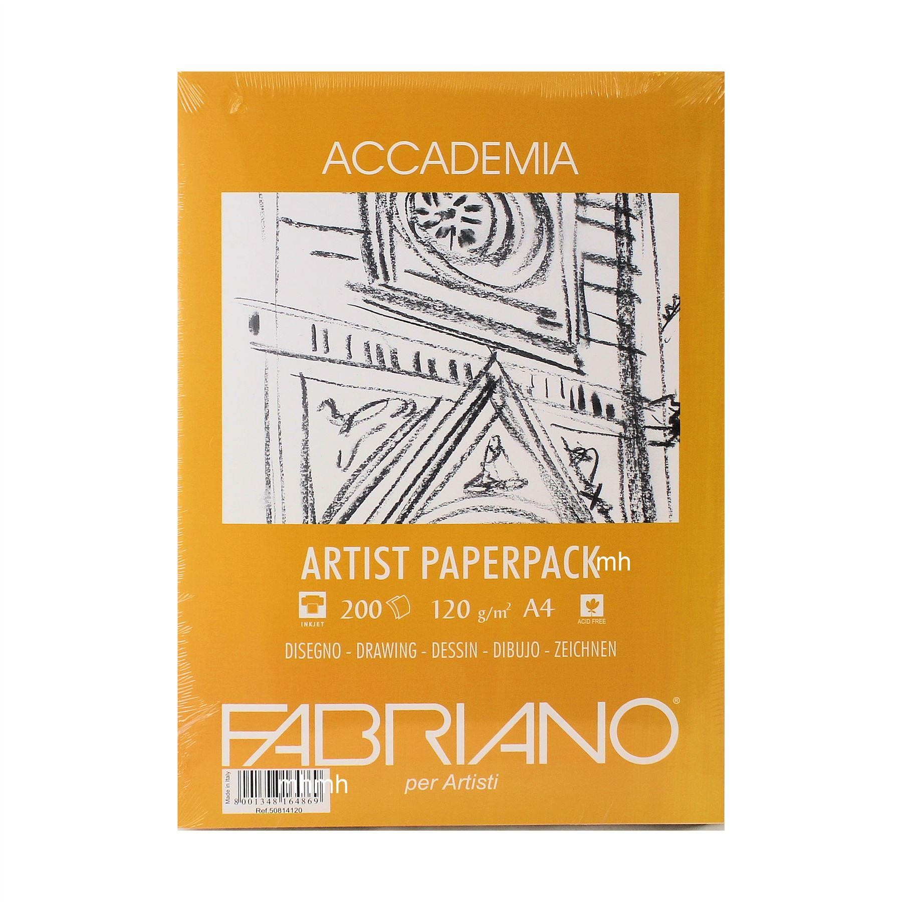 Fabriano Accademia Artist Paperpack in sizes A4 or A3, 12ogsm or 200gsm ,100 or 200 Sheets