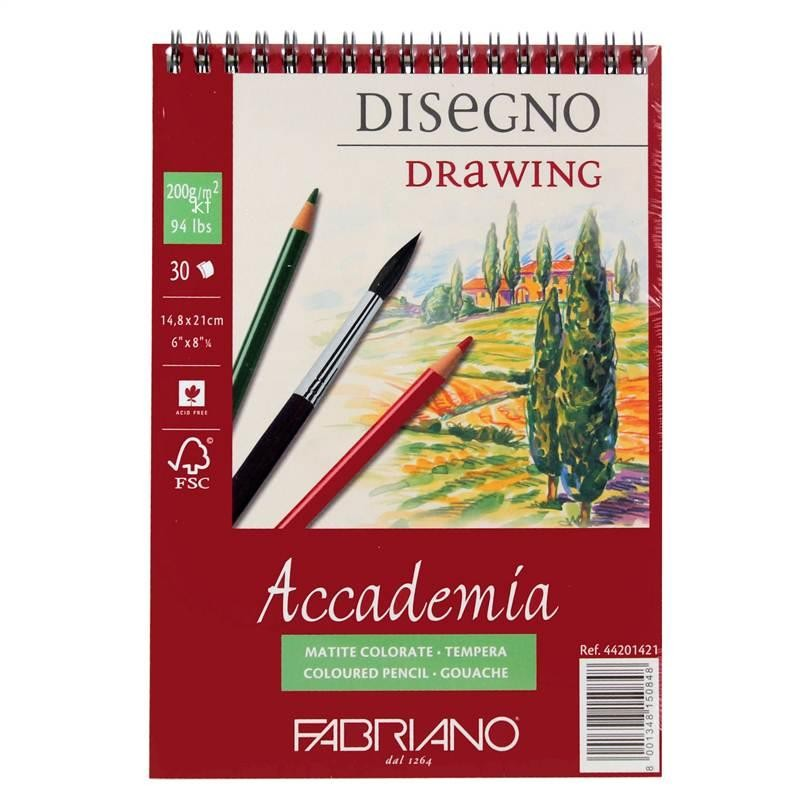 Fabriano Accademia 200gsm Spiral Bound Drawing Pad - 30 Sheets  sketching drawing paper pad