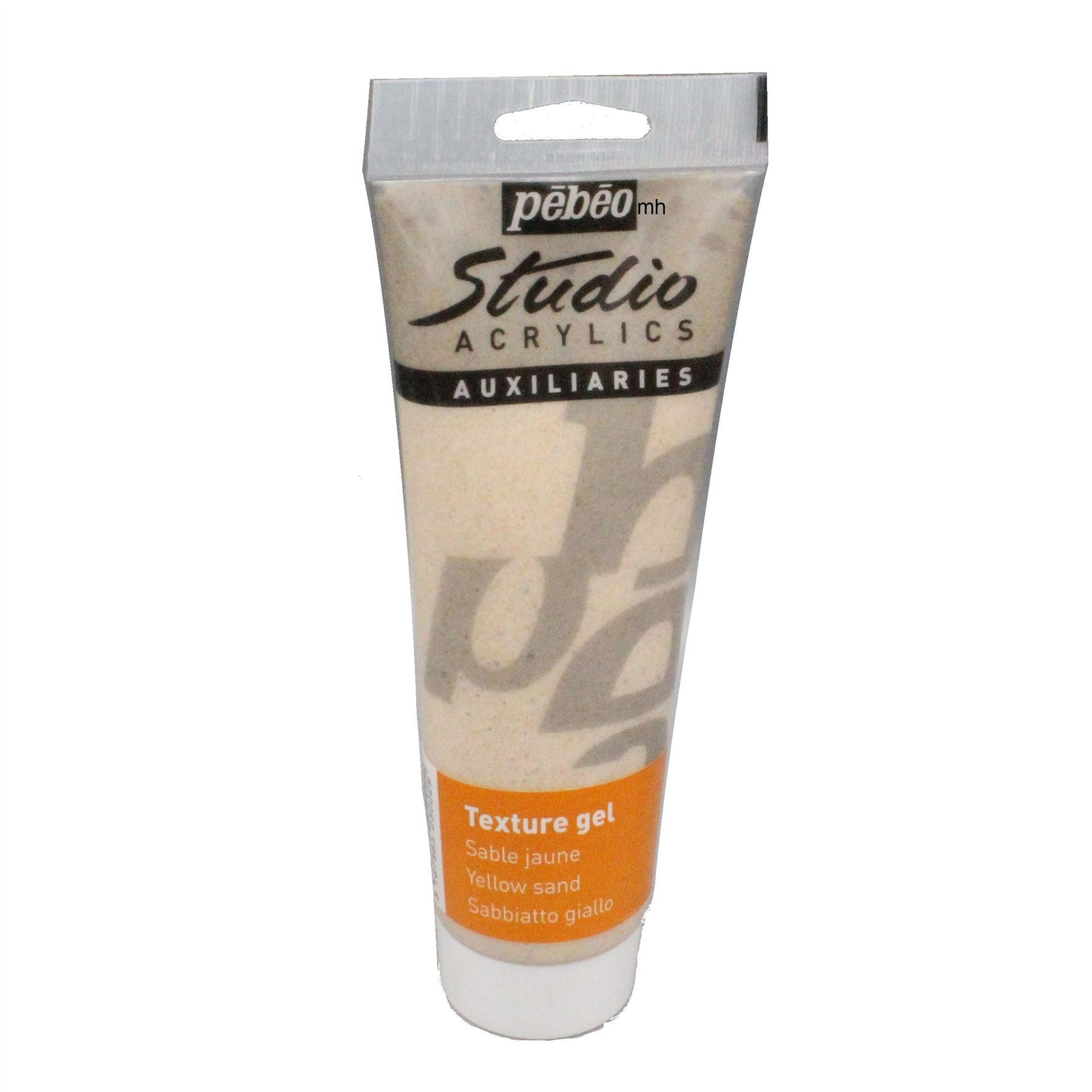 Pebeo Studio Sand texture Gel 250ml tubes, White, Black or Yellow