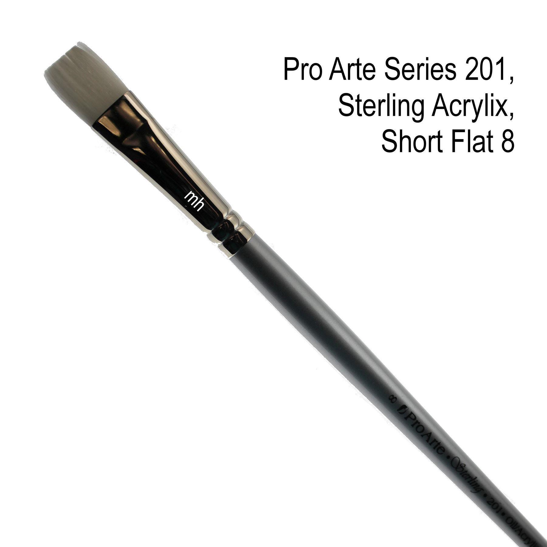 Pro Arte Series 201, Sterling Acrylix Brushes, Short Flat Brush - Assorted Sizes